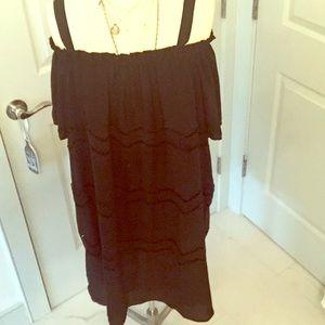 LOFT Off the Shoulder Black Peasant Dress Size XL